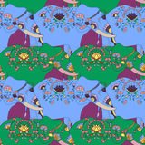 Indian elephant with beautiful pattern. Seamless pattern with indian elephant with beautiful pattern. Elephant Festival Jaipur Stock Photography