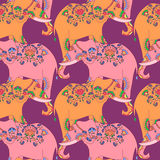 Indian elephant with beautiful pattern. Seamless pattern with indian elephant with beautiful pattern. Elephant Festival Jaipur Stock Photos
