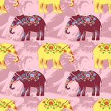 Indian elephant with beautiful pattern. Seamless pattern with indian elephant with beautiful pattern. Elephant Festival Jaipur Royalty Free Stock Photography