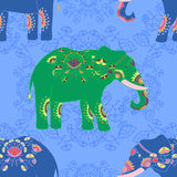 Indian elephant with beautiful pattern. Seamless pattern with indian elephant with beautiful pattern. Elephant Festival Jaipur Royalty Free Stock Images