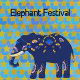 Indian elephant with beautiful pattern. Royalty Free Stock Photography