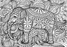 Indian elephant doodle coloring for adults. Hand drawn doodle. stock illustration