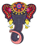 Indian elephant face. With traditional ornamentation  on the white background Stock Photo