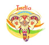 Indian Elephant Head with Bright Ethnic Ornaments. With floral motifs and sharp tusks isolated vector illustration on background of national flag abstract Royalty Free Stock Photos