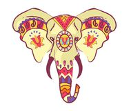 Indian Elephant Head with Bright Ethnic Ornaments. With floral motifs and sharp tusks isolated vector illustration on white background Royalty Free Stock Photos