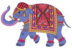 Indian elephant isolated. Blue Indian elephant decorated in traditional style. Vector illustration isolated on white background Stock Photography