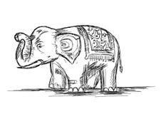 Indian Elephant Line Art Vector Illustration stock photography