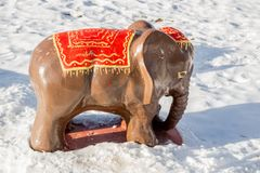 Indian elephant park sculpture. In winter stock images