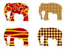 Indian elephant pattern. Elephant . Set of vector illustrations. Stock Photography