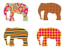 Indian elephant pattern. Elephant . Set of vector illustrations. Royalty Free Stock Photo