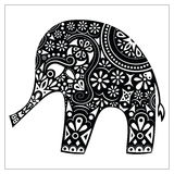 Indian elephant silhouette vector. Holli festival decoration on elephant. Coloring page. Exotic animal black and white doodle Royalty Free Stock Image