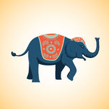 Indian elephant with traditional decoration. Cartoon illustration. Indian elephant with a traditional decoration. Vector image Stock Photo