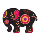 Indian elephant vector illustration. Indian elephant black silhouette illustrated with traditional colored design elements. Elephant isolated on white background Stock Image