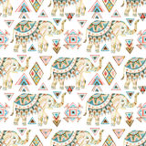 Indian elephant watercolor seamless pattern Stock Photos