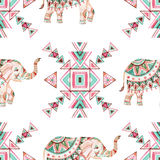 Indian elephant watercolor seamless pattern stock illustration