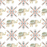 Indian elephant watercolor seamless pattern Royalty Free Stock Image
