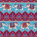 Indian elephants pattern. Traditional Indian pattern with elephants. Seamless pattern for design and textile Royalty Free Stock Photos
