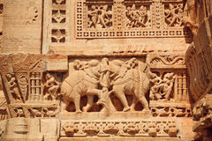 Indian elephants and patterned details of bas-relief Stock Photo