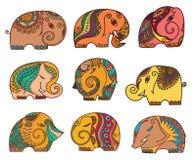 Indian elephants set Stock Images