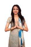 Indian em um pose do namaste. imagens de stock
