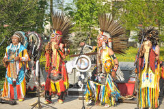 Indian ensemble performing in the street singing Royalty Free Stock Images
