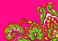 Indian ethnic background pattern. Ethnic folk ornament. Hand drawn lotus flower and paisley stock illustration