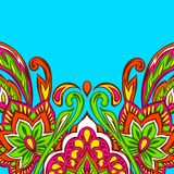 Indian ethnic background pattern. Ethnic folk ornament. Hand drawn lotus flower and paisley royalty free illustration