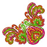 Indian ethnic decorative element. Ethnic folk ornament. Hand drawn lotus flower and paisley stock illustration