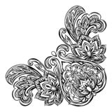 Indian ethnic decorative element. Ethnic folk ornament. Hand drawn lotus flower and paisley royalty free illustration
