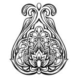 Indian ethnic decorative element. Ethnic folk ornament. Hand drawn lotus flower vector illustration