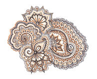 Indian ethnic illustration. Hand painted ornament Royalty Free Stock Photography