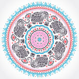 Indian ethnic mandala ornament with tribal aztec elephants Stock Image