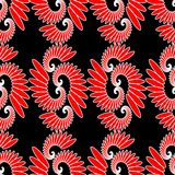 Indian ethnic motive, red and white design on black background, seamless abstract vector tile Stock Image