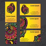 Indian ethnic ornament. Set of business cards. Vector illustrati Royalty Free Stock Images