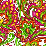 Indian ethnic seamless pattern. Ethnic folk ornament. Hand drawn lotus flower and paisley royalty free illustration