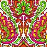 Indian ethnic seamless pattern. Ethnic folk ornament. Hand drawn lotus flower and paisley stock illustration