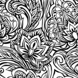 Indian ethnic seamless pattern. Ethnic folk ornament. Hand drawn lotus flower and paisley vector illustration