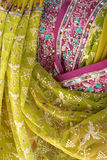 Indian fabrics. Colourful fabrics in Indian shop Royalty Free Stock Images