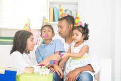 Indian family birthday celebration w Royalty Free Stock Photo