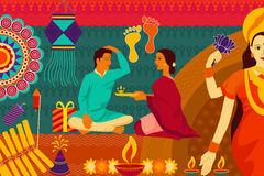 Indian family celebrating Bhai Dooj during Happy Diwali festival background kitsch art India. Vector illustration of Indian family celebrating Bhai Dooj during stock illustration
