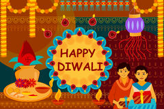 Indian family celebrating Bhai Dooj during Happy Diwali festival background kitsch art India Stock Photos