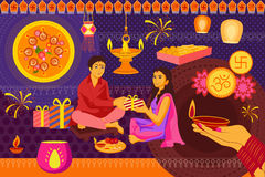 Indian family celebrating Bhai Dooj during Happy Diwali festival background kitsch art India Stock Photography