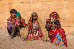 An Indian family in colorful saris Royalty Free Stock Photography