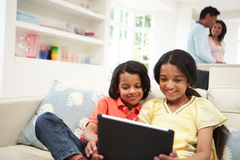 Indian Family With Digital Tablet At Home Stock Photography