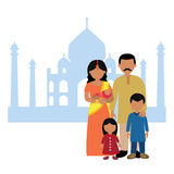 Indian family in front of taj mahal. Vector illustration of indian family in front of taj mahal Vector Illustration