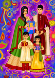 Indian family with gift for Diwali festival celebration in India. Vector design of Indian gift and present for Diwali festival celebration in India Stock Images