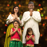Indian family greeting on diwali Stock Photo