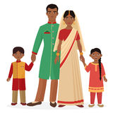 Indian family. Indian man and woman with boy and girl kids in traditional national clothes. Stock Photo