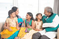 Indian family indoors portrait Stock Photo