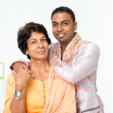 Indian family mature mother and adult son Royalty Free Stock Photography
